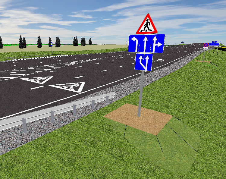 Трехмерное изображение уччастка дороги после расстановки технических средств ОДД