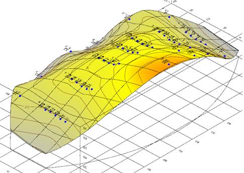 3D-вид деформационной поверхности в КРЕДО РАСЧЕТ ДЕФОРМАЦИЙ