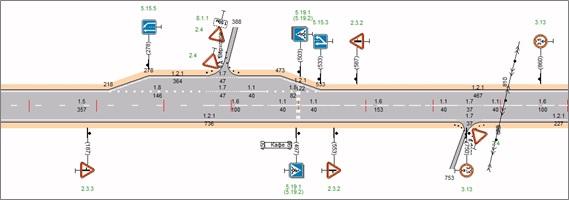 Фрагмент линейного плана автомобильной дороги с расставленными дорожными знаками и нанесенной горизонтальной разметкой