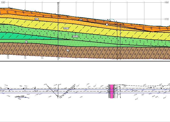 Рис. 2. Разрез цифровой модели рельефа с геологическим строением