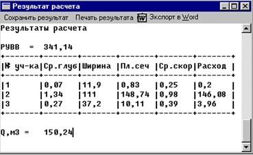 Окно результатов расчета. Для просмотра и редактирования доступны все исходные данные и полученные расчетные характеристики участков морфоствора