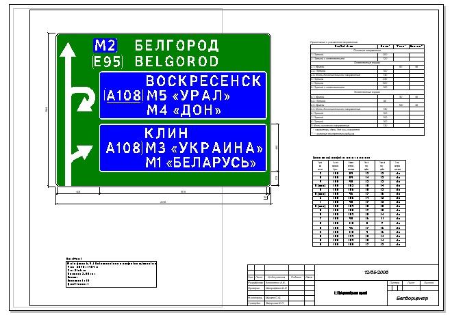 Проект указателя создан в программе ZNAK 5.1, чертеж оформлен рамкой и штампом, содержит проект знака, таблицу, примечания. Индивидуальный знак создан на базе готового шаблона с использованием указателей, хранящихся в библиотеке